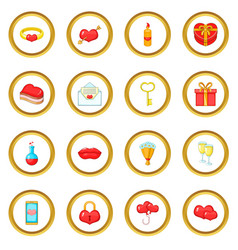 saint valentine day icons circle vector image
