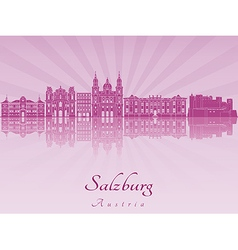 Salzburg skyline in purple radiant orchid vector