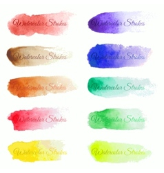 Set of colorful brush strokes vector