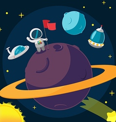 Spaceman planet success cartoon background vector