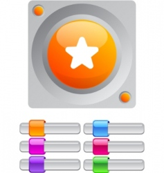 star color round button vector image vector image