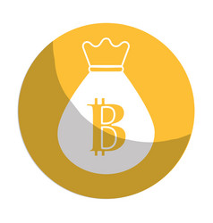 Sticker bag with bitcoin currency digital symbol vector
