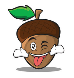 Tongue out with wink acorn cartoon character style vector