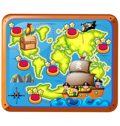 Treasure map with kids on the ship vector