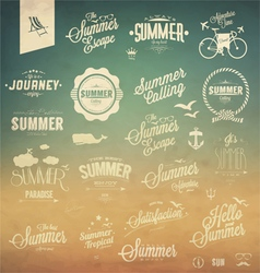 Vintage summer elements vector