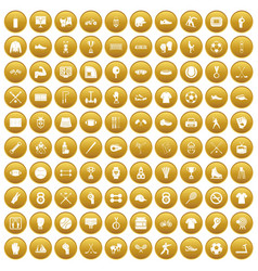 100 athlete icons set gold vector