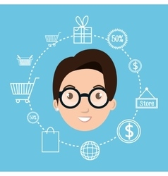 Character money buy web woman vector