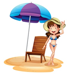 A girl wearing a bikini beside a summer chair and vector image