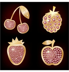 Icons of fruit decorated with diamonds vector image