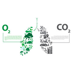 Green city opposites with eco lung concept vector