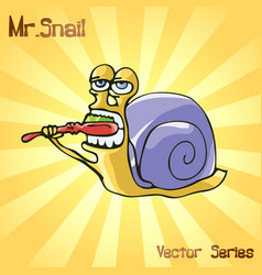 Mr snail with toothbrush vector