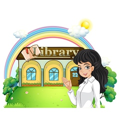A lady introducing the library vector image