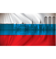 flag of russia with moscow skyline vector image