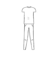 Line cute man casual wear design vector