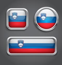 Slovenia flag glass buttons vector