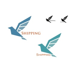 Shipping emblem with flying bird vector image