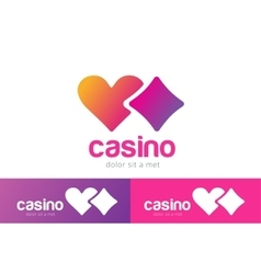 Casino logo icon poker cards or game and hearts vector