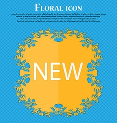 New sign icon arrival button symbol floral flat vector