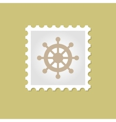 Ship steering wheel stamp vector