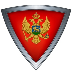 Steel shield with flag montenegro vector