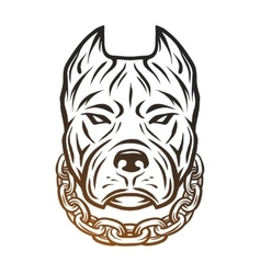 The head of a pit bull with a collar vector
