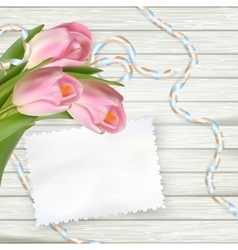 Vintage toned tulips and note paper eps 10 vector