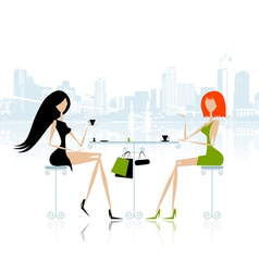 Fashion girls in cafe on the street vector image