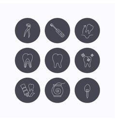 Tooth extraction electric toothbrush icons vector