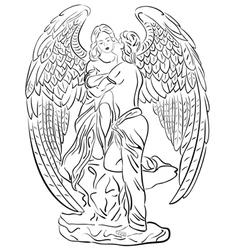 a Sleeping Angel on white b vector image