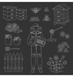 Beekeeper and honey set vector
