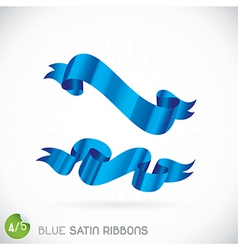 Blue satin ribbons vector