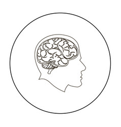 brain icon outline single education icon from the vector image vector image