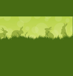 Bunny easter on green backgrounds vector