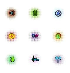 Car repairs icons set pop-art style vector