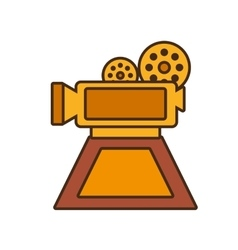 Cartoon film camera trophy awards gold wooden vector