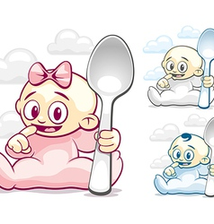 Cartoon kids with spoons vector image vector image