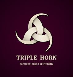 celtic triple horn symbol design template vector image vector image