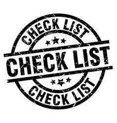 Check list round grunge black stamp vector