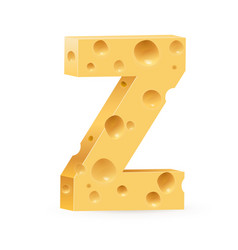 Cheese font z letter on white vector