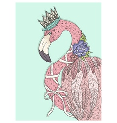 Cute flamingo with flower crown and ribbon vector image