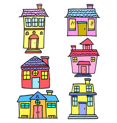 Doodle of house set various vector