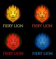 fiery lion logo vector image vector image