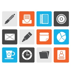 Flat office and business icons vector