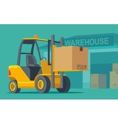 Forklift carries a box in storage vector image vector image