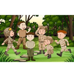 Group of soldiers in the forest vector image