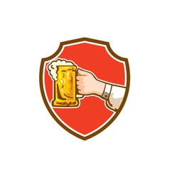 Hand holding mug beer crest retro vector