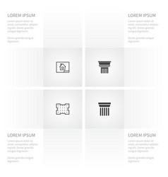 icon building set of ornate paper template and vector image