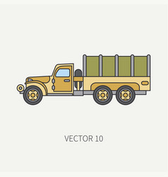 line flat color icon tarpaulin wagon army vector image vector image