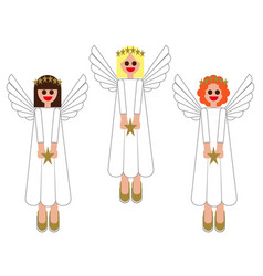 merry christmas images of angels in the vector image vector image