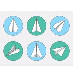 Paper Plane Thin Line Symbols Set Paper Origami vector image vector image